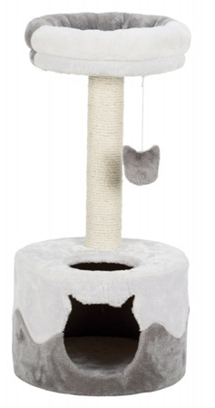 Ciekawy drapak pionowy dla kota z okrągłą budką, słupkiem i legowiskiem