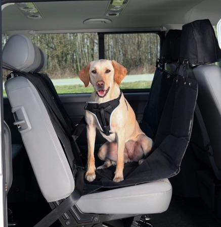 Czarna mata samochodowa dla psa z ochraniaczami na zagłówki - 145x160 cm