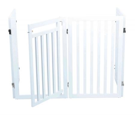 Czteroczęściowa barierka odgradzająca z drzwiczkami biała