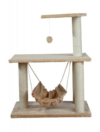 Drapak z hamakiem, platformami i zabawką w kolorze beżowym