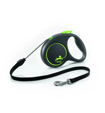 Flexi Black Design Smycz automatyczna Linka Medium 5m czarno-zielona