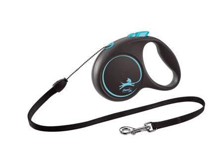 Flexi Black Design Smycz automatyczna Linka Small 5m czarno-niebieska
