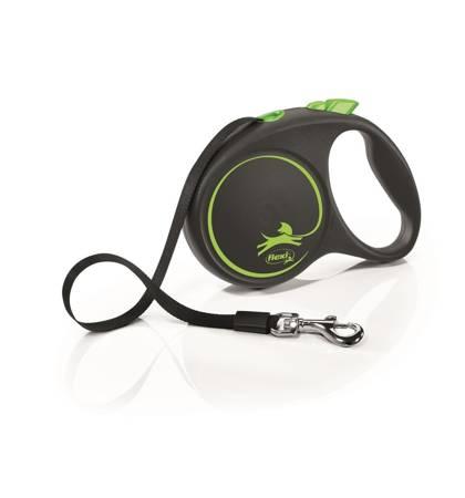 Flexi Black Design Smycz automatyczna Taśma Large 5m czarno-zielona