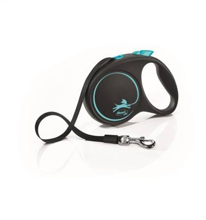 Flexi Black Design Smycz automatyczna Taśma Medium 5m czarno-niebieska