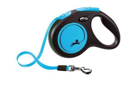 Flexi New Neon Smycz automatyczna Neon niebieski taśma 5m Medium