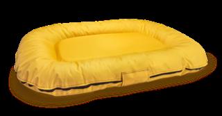 Nowoczesny, modny ponton - legowisko wodoodporne z wymiennymi pokrowcami z kodury L żółty
