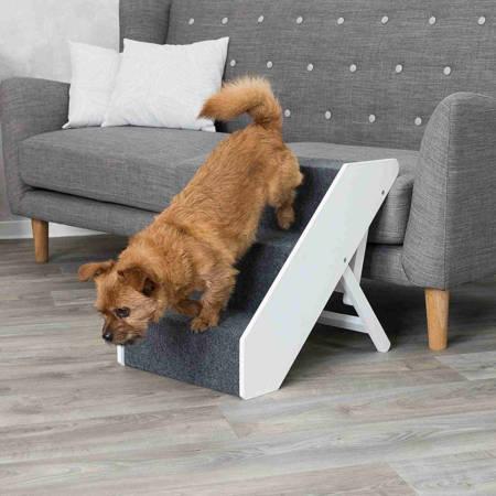 Schody dla psa z regulacją na trzy wysokości, schodki dla psa pokryte filcem- 40x67cm - do 40 kg